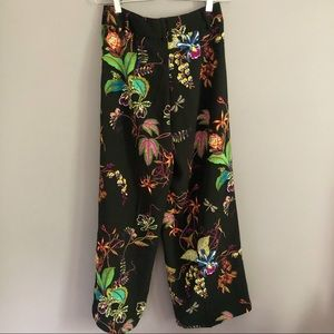 H&M Pants - H&M High Waisted Cropped Wide Leg Floral Trousers
